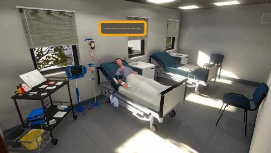 Wireless virtual reality simulation of a transfusion incident